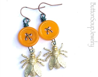 Mustard Yellow Vintage Buttons with Gold Color Bees on Aqua Wire Dangle Earrings