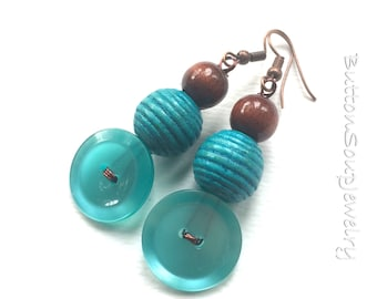 Teal Aqua Blue Vintage Button Earrings with Wooden Beads