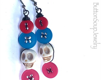 Colorful Button Earrings with Skull Beads and Black Wire