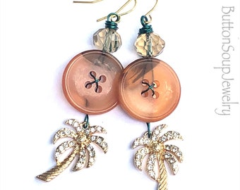 Tropical Vintage Button Dangle Earrings with Palm Trees