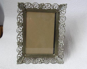 Vintage Metal Picture Frame  with Glass