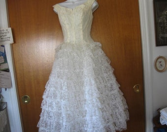Vintage Wedding Gown, Jacket and Veil,
