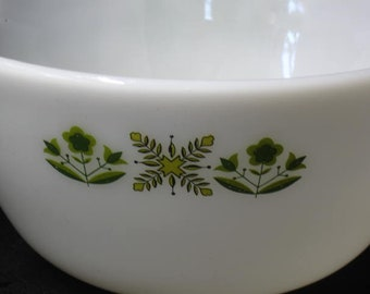 FireKing Anchor Hocking Mixing Bowl with Green Floral Design