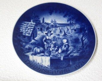 Vintage Collector Plate - Thanksgiving 1971 - Pilgrims First Thanksgiving