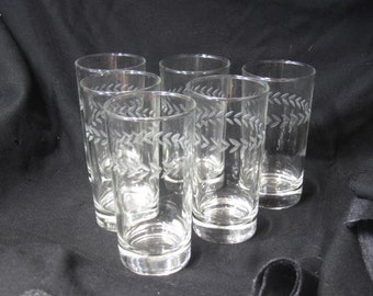 6 Vintage Etched Glasses by Anchor Hocking
