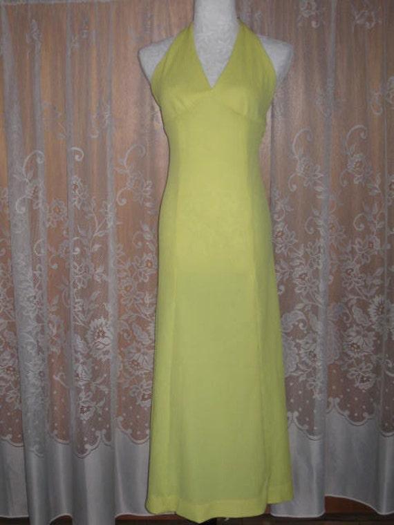 Vintage Halter Dress Bright Lemon Yellow Halter D… - image 2