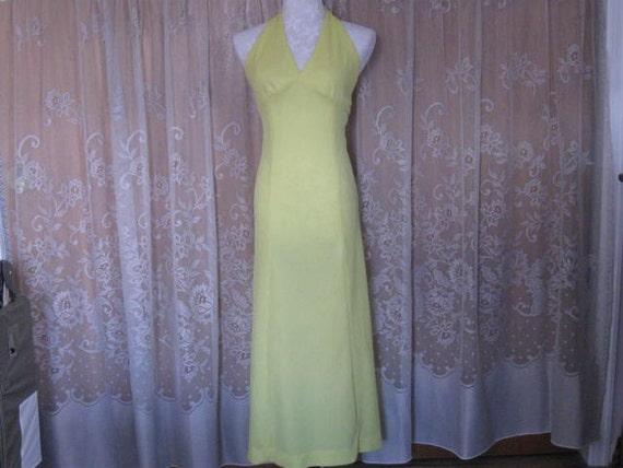 Vintage Halter Dress Bright Lemon Yellow Halter D… - image 1