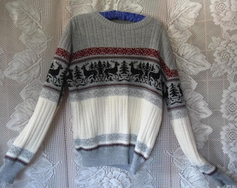Vintage Unisex Sweater with Reindeer and Evergreen Trees size small by Rob Winter