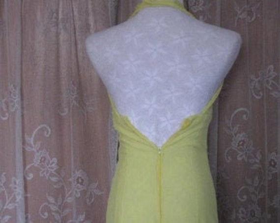 Vintage Halter Dress Bright Lemon Yellow Halter D… - image 9