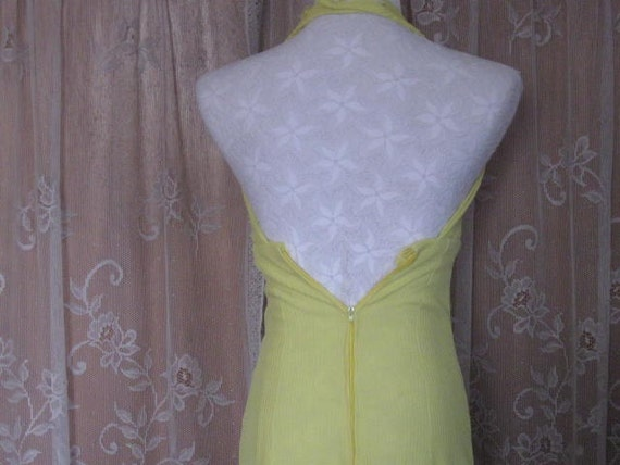 Vintage Halter Dress Bright Lemon Yellow Halter D… - image 4
