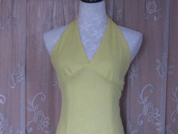 Vintage Halter Dress Bright Lemon Yellow Halter D… - image 5