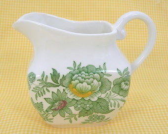 Creamer Pitcher, Enoch Wedgewood, KENT Pattern, Made in England, Vintage Tea / Coffee Kitchen Dinnerware, Green on Creamy White, Collectible
