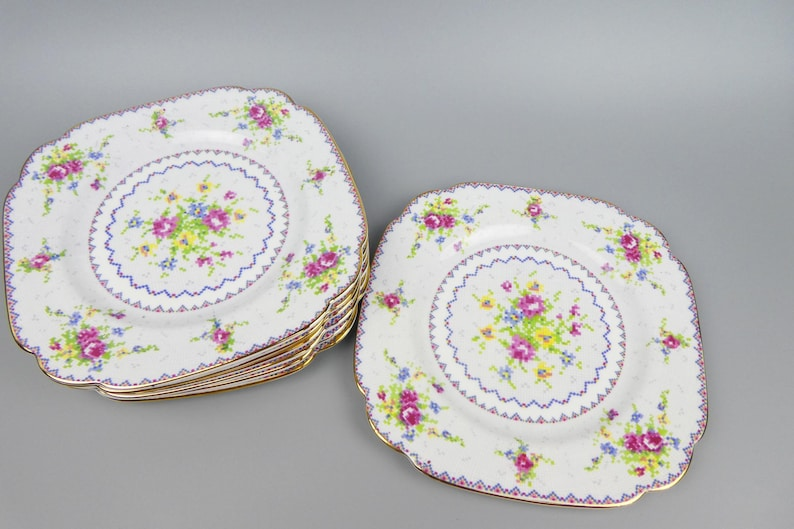 Vintage Bone China Plates in the Square Hampton Shape 2 Sets of 4 Available 4 Royal Albert Petit Point Plates 1940s Back Stamp