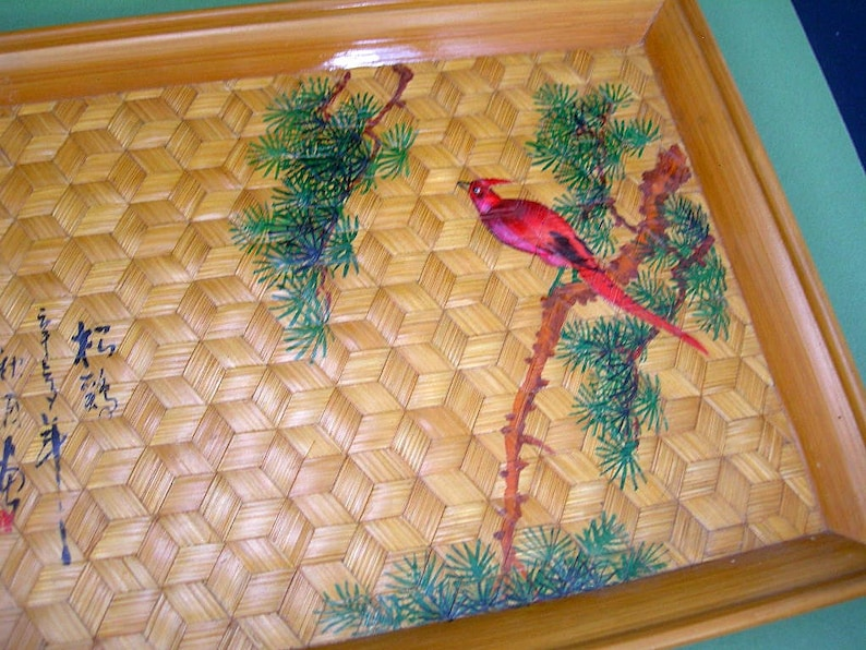 Hand-painted Red Bird /& Tree Vintage Asian Small Decorative Tray Woven 3-D Cube Design Japanese Woven Bamboo Tray Asian Home Decor
