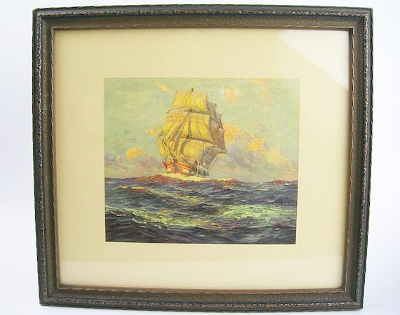 Galleon Ship Wall Picture Wood Frame With Glass Front Etsy