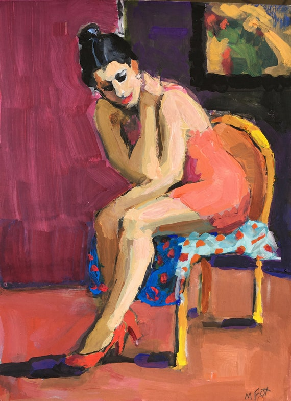 Woman Art Seated Girl In Red Dress Contemporary Figure Painting
