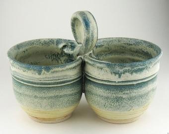 Condiment Dish  / Relish Dish - Yellow Salt / Deep Turquoise / Handmade Wheel Thrown Pottery