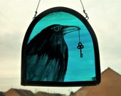 Raven Key Stained Glass Crow Painted Panel Window Hanging Suncatcher