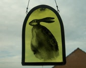 Stained Glass Hare Hand Painted Panel Rabbit Moon Crescent Window Hanging