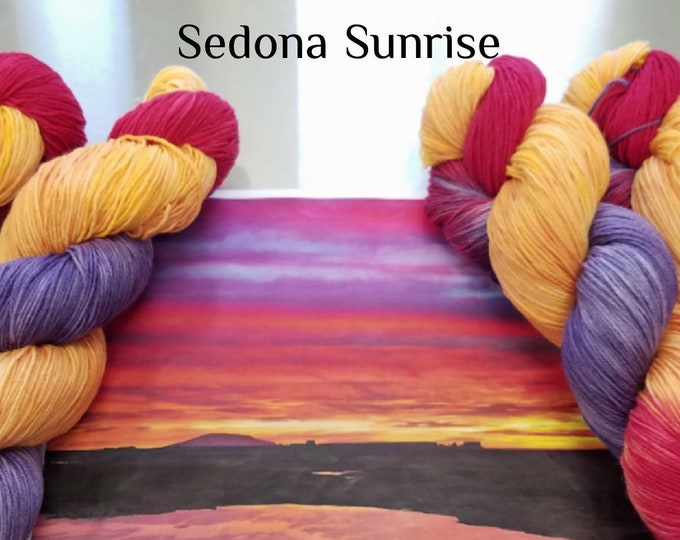 "Featured listing image: Hand Dyed Sock Yarn, ""Sedona Sunrise"" (112018), Hand Painted Sock Yarn, Variegated SW Merino Wool Nylon Yarn, Quick Step Sock"