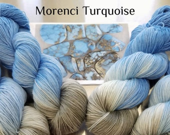"Hand Dyed Sock Yarn, ""Morenci Turquoise"" (112818), Hand Painted Sock Yarn, Variegated SW Merino Wool Nylon Yarn, Quick Step Sock"
