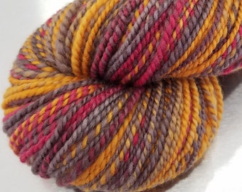 "Hand Dyed Handspun Yarn - ""Hunger"" on Merino Wool"