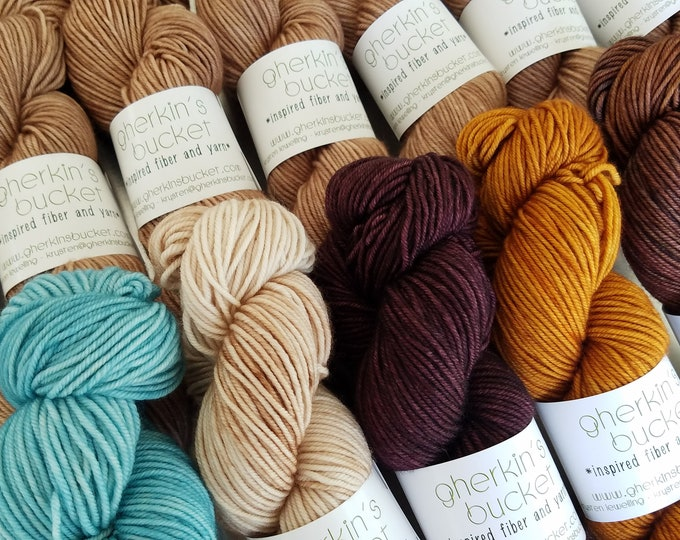 Featured listing image: Hand Dyed DK Yarn + Magazine Kit for Nomadic Knits Truth or Consequences Pattern - Choose Your Size! FREE Nomadic Knits download included!