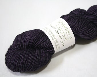 "Hand Dyed Sport Yarn, ""Dark Plum"" , Tonal Kettle Dyed Sport Weight Yarn, Semisolid SW Merino Wool Yarn, Simple SW Sport"