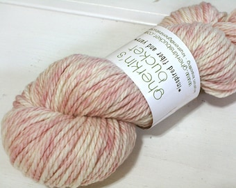 "Hand Dyed Bulky Yarn, ""Pink Champagne"" colorway, Hand Painted Yarn, Spatter Painted Yarn, Simple SW Merino Wool Bulky Plush"