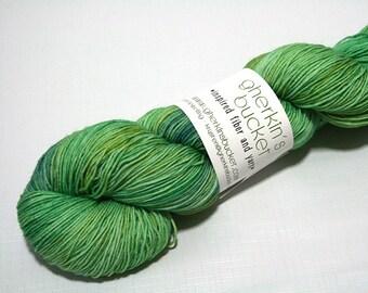 "Hand Dyed Sock Yarn, ""Vegetate"" (lot 12017), Contrast Splash Yarn, Kettle Dyed Sock Yarn, SW Merino Wool Nylon Yarn, Quick Step Sock"