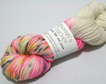 "Hand Dyed DK Yarn, ""Unicorns & Lightning Bolts"" (lot 11917), Hand Painted Yarn, Multicolor Spatter Yarn, SW Merino Wool/Cashmere/Nylon DK"