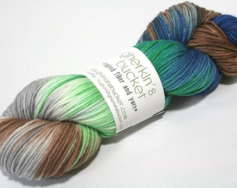 "Hand Dyed DK Yarn, ""Downward Peacock"" (lot 42216), Hand Painted Multicolor Yarn, Variegated Yarn, Superwash Merino Wool, Simple SW DK"