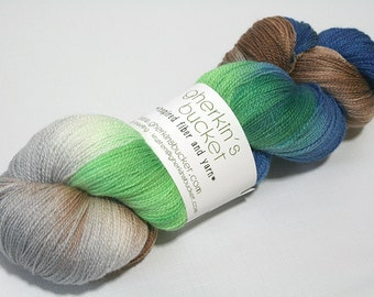 "Hand Dyed Lace Yarn, ""Downward Peacock"" (lot 42216), Hand Painted Multicolor Lace, Variegated Yarn, SW Merino Silk Lace"