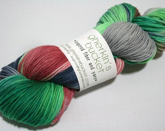 "Hand Dyed DK Yarn, ""Clover-Wrapped Heart"" (lot 22616), Hand Painted Multicolor Yarn, Variegated Yarn, Superwash Merino Wool, Simple SW DK"