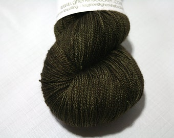 "Hand Dyed Lace Yarn, ""Bitter Olive"" (lot 101316), Tonal Kettle Dyed Lace, Semisolid Yarn, SW Merino Silk Lace"