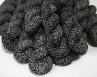 "Hand Dyed Sock Yarn, ""Soft Iron"" (lot 72116), Tonal Kettle Dyed Sock Yarn, Semisolid SW Merino Nylon Yarn, 20g Quick Step MINIS"