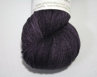 "Hand Dyed Lace Yarn, ""Dark Plum"", Tonal Kettle Dyed Lace, Semisolid Yarn, SW Merino Silk Lace"