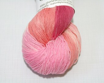 """Peachy Keen"" on Long Stride Sock (750yds) - Hand Dyed Heavy Lace/Sock Yarn"