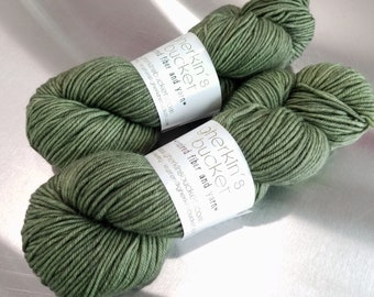 "Hand Dyed DK Yarn, ""Sage Advice"" (121516), Tonal Kettle Dyed Yarn, Semisolid Superwash Merino Wool/Cashmere/Nylon, Smart Luxe MCN DK"