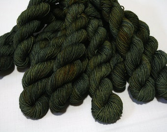 "Hand Dyed Sock Yarn, ""Evergreen Soul"" (lot 71916), Tonal Kettle Dyed Sock Yarn, Contrast Splash SW Merino Nylon Yarn, 20g Quick Step MINIS"