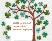 Irish Quilt Label K8807 machine embroidered personalized