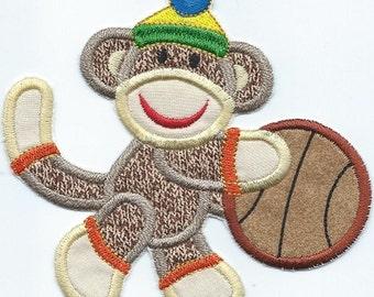 Sport Sock Monkey Basketball Player patch