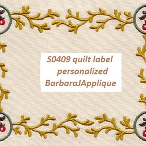 E5115 Garden  Quilt Label machine embroidered personalized