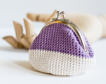 Crochet Coin Purse with Kiss Clasp Frame in Purple and Off-White