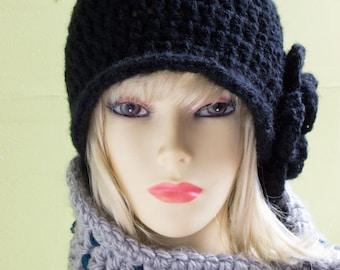 Crochet Pui Hat Vintage Style in Black