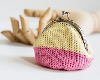 Crochet Coin Purse with Kiss Clasp Frame inYellow and Pink
