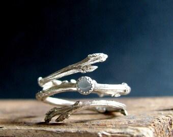 Aquamarine Silver Ring, Woodland Jewelry, March Birthstone Gifts