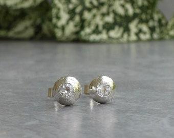 Minimal Earrings, White Topaz Stud Earrings, Bridal Jewelry
