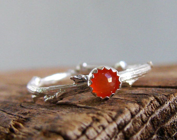 Carnelian Twig Ring Sterling Silver Orange Gemstone Stack Rings Fall Jewelry