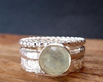 Gemstone Stack Rings Prehnite Cabochon 925 Sterling Silver Ring Set